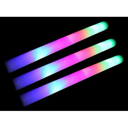 24 PCS Pack of 18 Multi Color Foam Baton LED Light Sticks - Color Changing Rally Foam 3 Model Flashing (Led Foam Sticks)