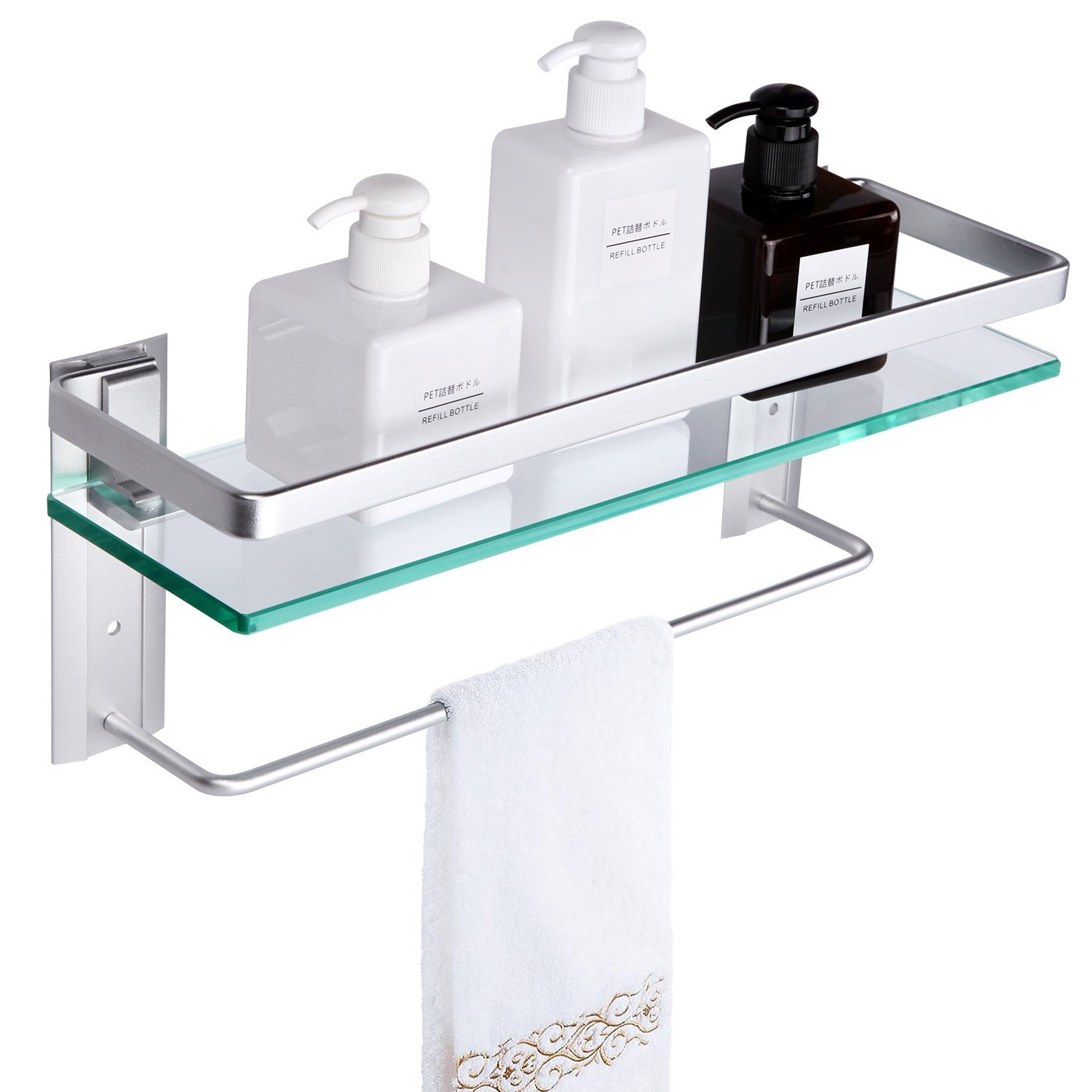 Tempered Glass Bathroom Shelf With Towel Bar. VDOMUS Wall Mounted Shower  Storage.15.2 By