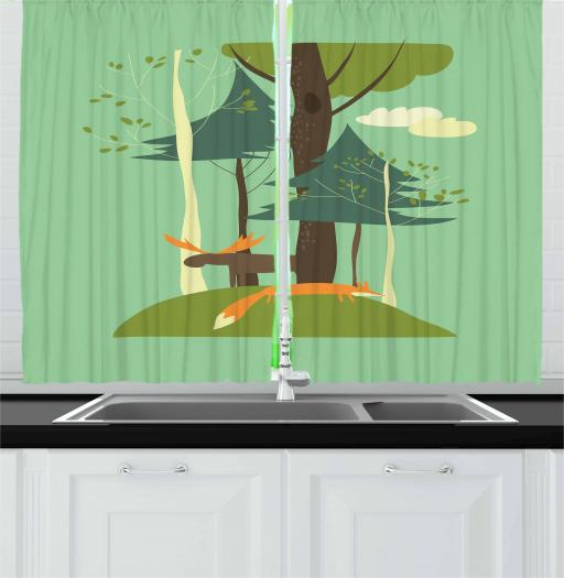 Kids Boys Curtains 2 Panels Set, Elk and Fox in the Forest Blossoming Spring Season Fir Trees Nature, Window Drapes for Living Room Bedroom, 55W X 39L Inches, Green Brown and Orange, by Ambesonne