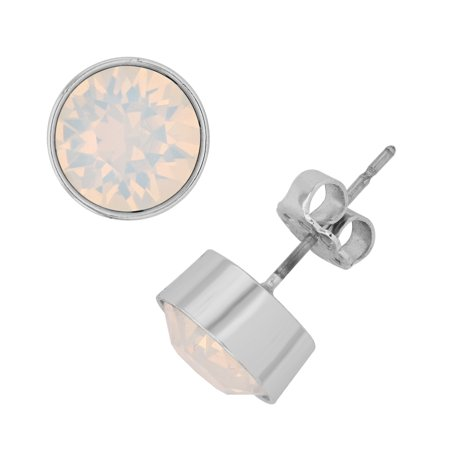7de4c1c2c1 X & O Rhodium Plated 8 mm Bezel Set Flat Back Stud Earrings with White Opal  Swarovski Crystals