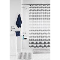 Mainstays Ombre Grey Stripe 15 Piece Shower Curtain Bath Set