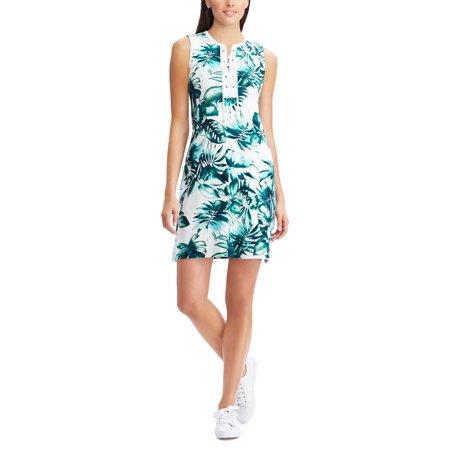 Leaf-Print Cotton Sleeveless Dress