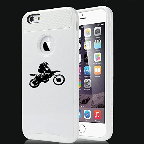 Apple iPhone SE Shockproof Impact Hard Soft Case Cover Dirt MX Motocross Bike Rider (White),MIP