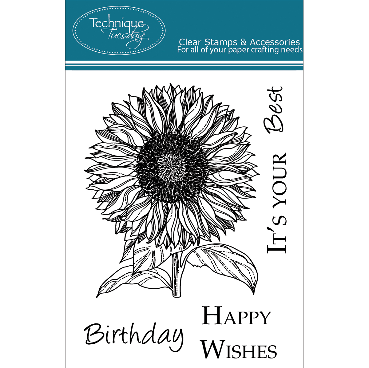 "Technique Tuesday Clear Stamps 3""X4""-Sunflower"