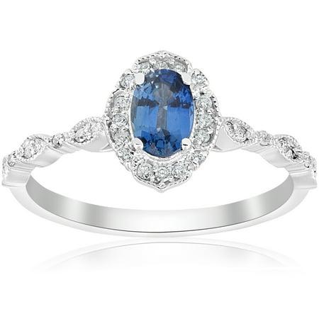 Blue Sapphire Vintage Halo Diamond Engagement 3/4ct Ring 14k White Gold