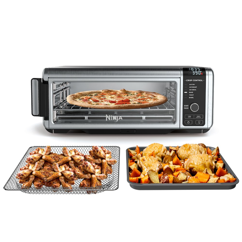 The Ninja® Foodi™ Digital Air Fry Oven in Black and Silver, Convection Oven, Toaster, Air Fryer, Flip-Away for Storage, 1800 watts, Stainless Steel, SP100