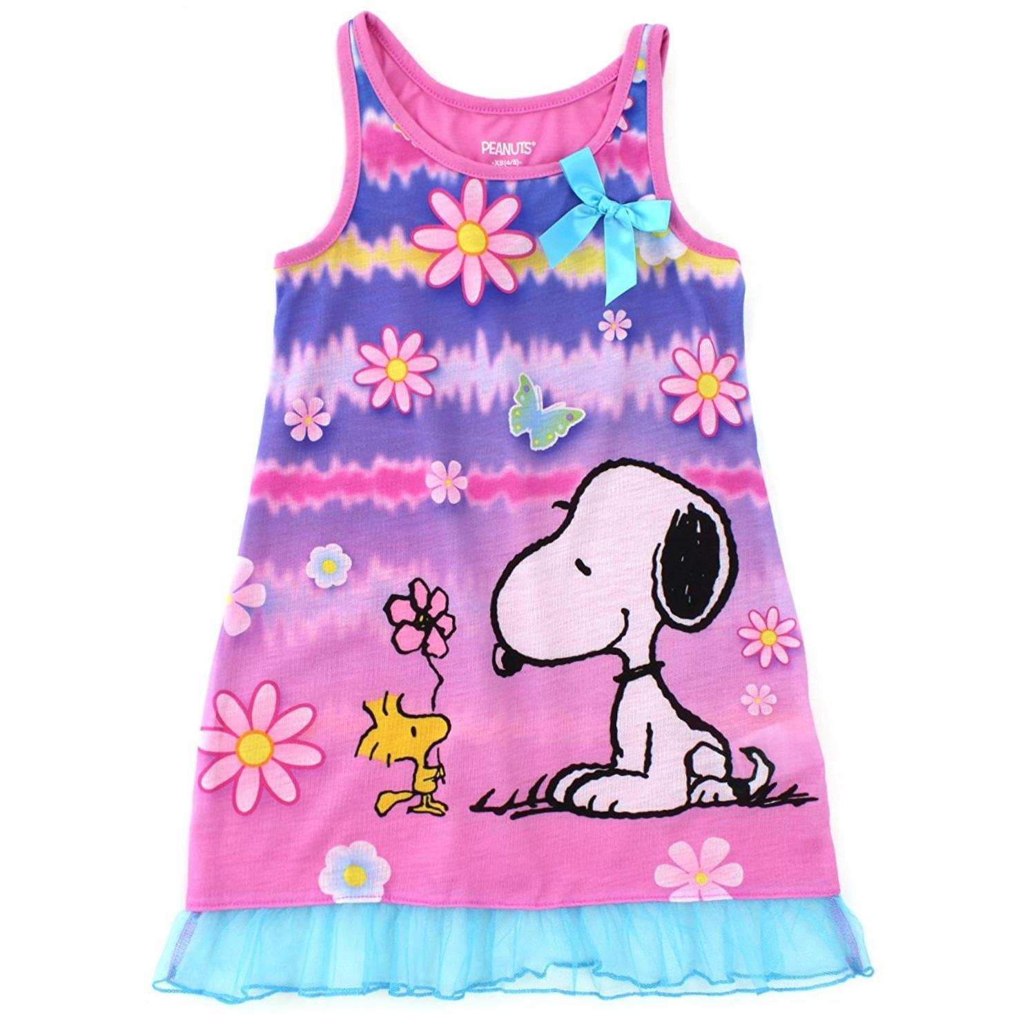 Peanuts Snoopy Girls Pink Poly Nightgown Pajamas
