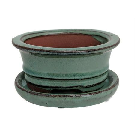 Small Ceramic Bonsai Pot plus Saucer - Aqua Green - 4