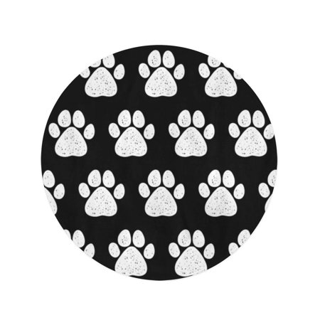 NUDECOR 60 inch Round Beach Towel Blanket Abstract Doodle Dog Paw Adorable Bear Black Breed Travel Circle Circular Towels Mat Tapestry Beach Throw - image 2 of 2