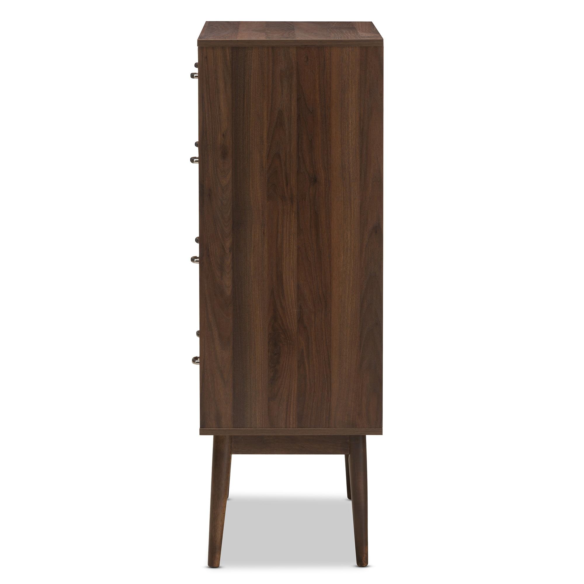 Baxton studio disa modern walnut brown finished wood 5 drawer chest walmart com
