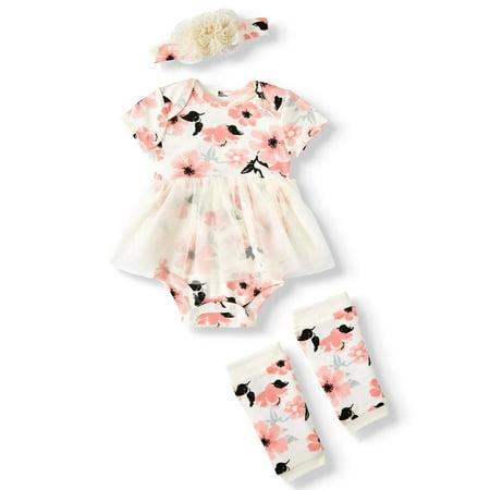 Miniville Short Sleeve Tutu Bodysuit, Leg Warmers & Floral Headband, 3pc Outfit Set (Baby