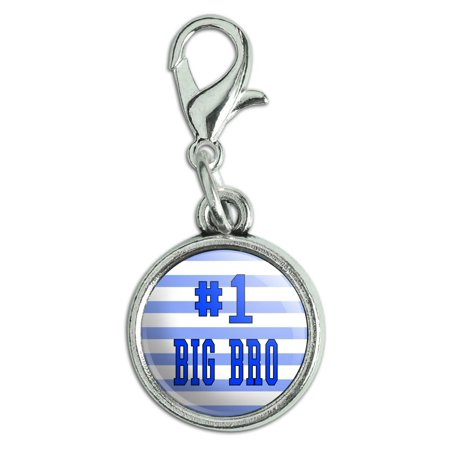 #1 Big Bro Brother Number One Favorite Antiqued Bracelet Pendant Zipper Pull Charm with Lobster Clasp for $<!---->