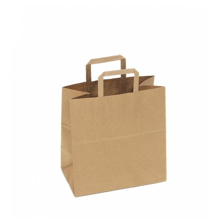 Safepro 12717 12x7x17 Inch Kraft Paper Ping Bags With Handles Disposable Take Out