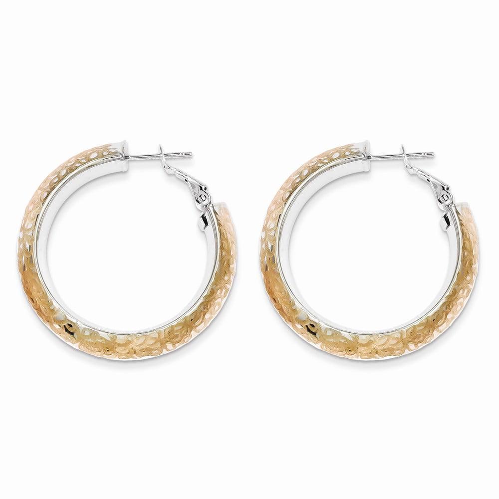 Sterling Silver & Rose Gold Plated Patterned Hoop Tube Earrings