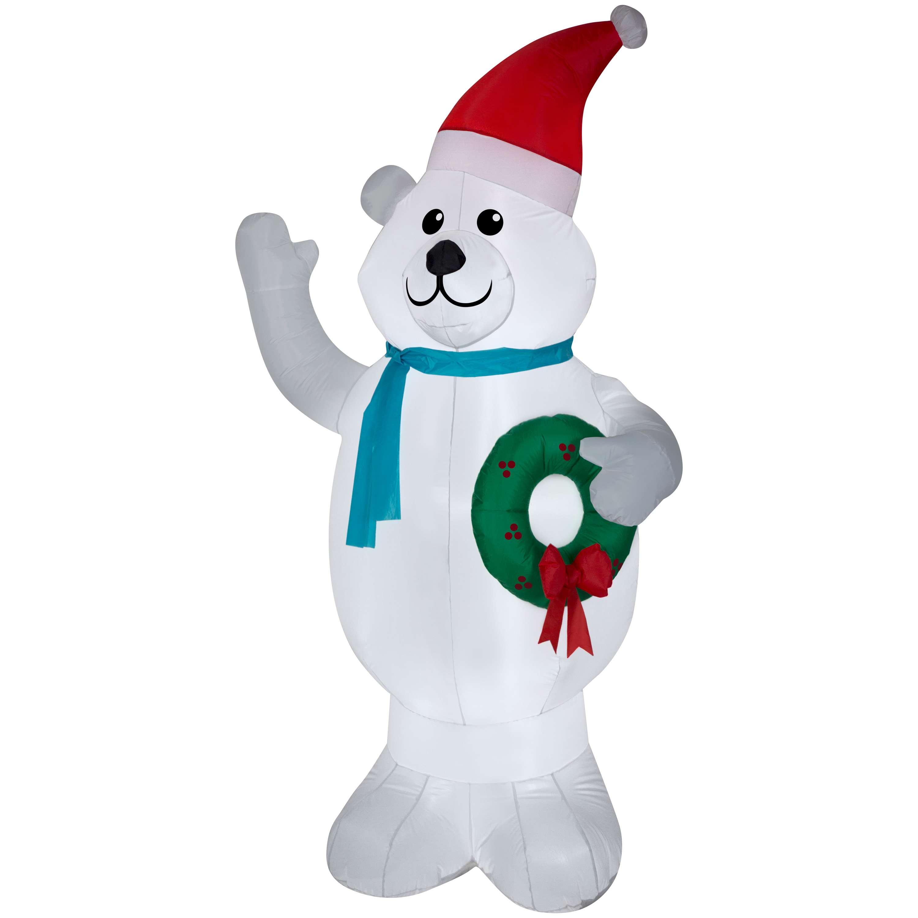 Airblown Inflatable Polar Bear w/Wreath 7ft tall by Gemmy Industries