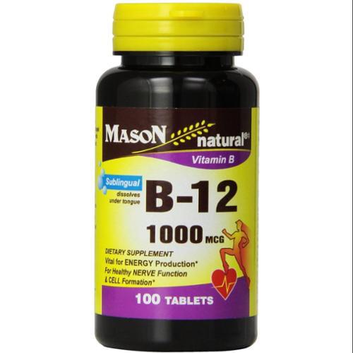 Mason Natural Vitamin B-12 1000mcg, Sublingual Tablets 100 ea (Pack of 4)