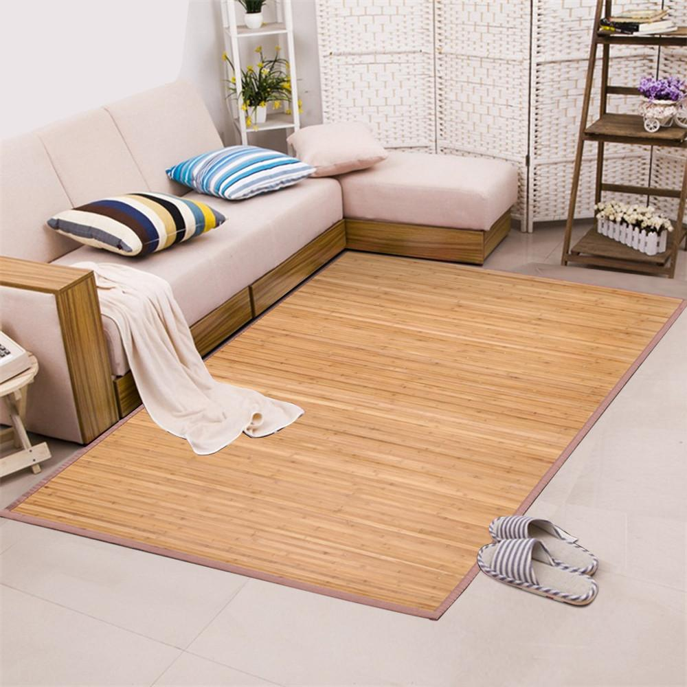 yaheetech bamboo area rug carpet 5'x 8' brown natural bamboo wood Bamboo Area Rug