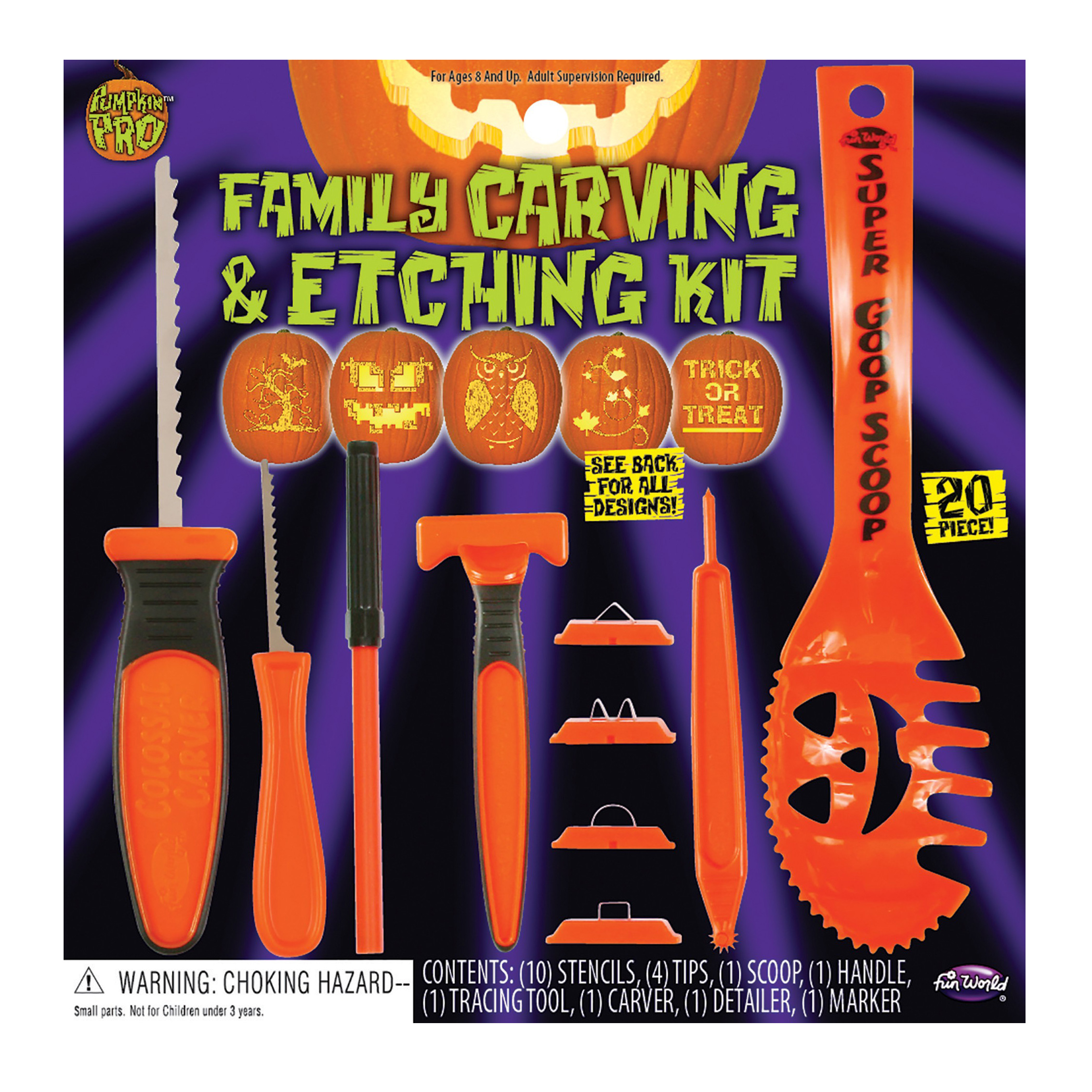 Fun World Family Carving and Etching 20pc Pumpkin Carving Kit, Orange