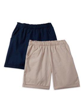 Wonder Nation Girls 4-18 & Plus Size Pull On Bermuda Shorts, 2-Pack