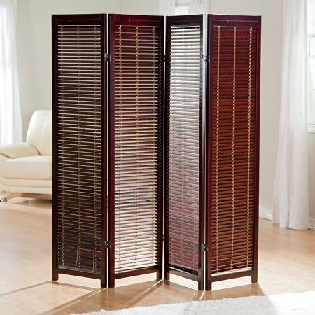 Tranquility Wooden Shutter Screen Room Divider In Rosewood