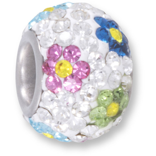 Connections from Hallmark Crystal Accent Stainless Steel Multi-Color Flower Charm