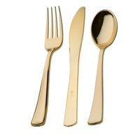 Host & Porter Assorted Plastic Gold Cutlery, 300 Count