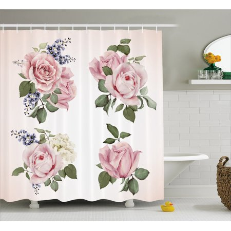 Rose Shower Curtain Springtime Set Of Bouquets Roses Bridal Flora Corsage Gentle Nature