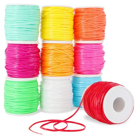 Juvale 10-Pack Plastic Lacing String Cord for DIY Craft Jewelry, 10 Colors, 2.5 x 1mm, 50 Yards Length Plastic Yard Twine