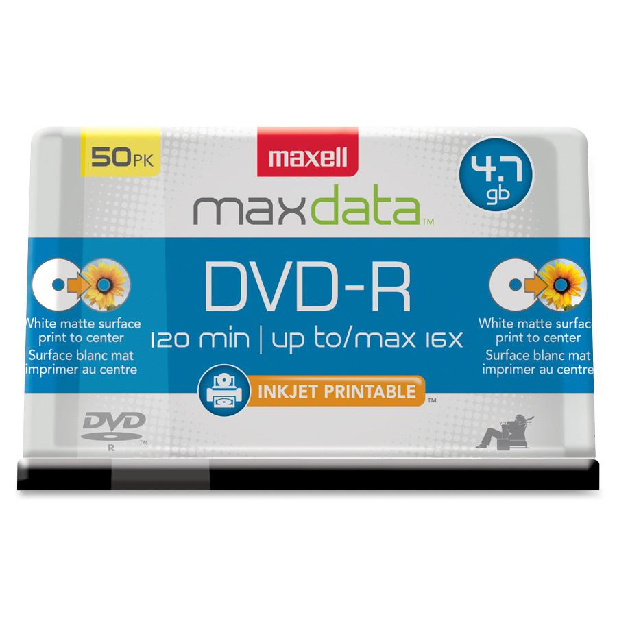 Maxell DVD Recordable Media DVD-R 16x 4.70 GB 50 Pack Spindle Bulk by Maxell