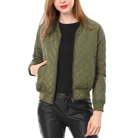 Women Quilted Zip Up Raglan Sleeves Bomber Jacket Coat Outerwear Green XS (US 2)