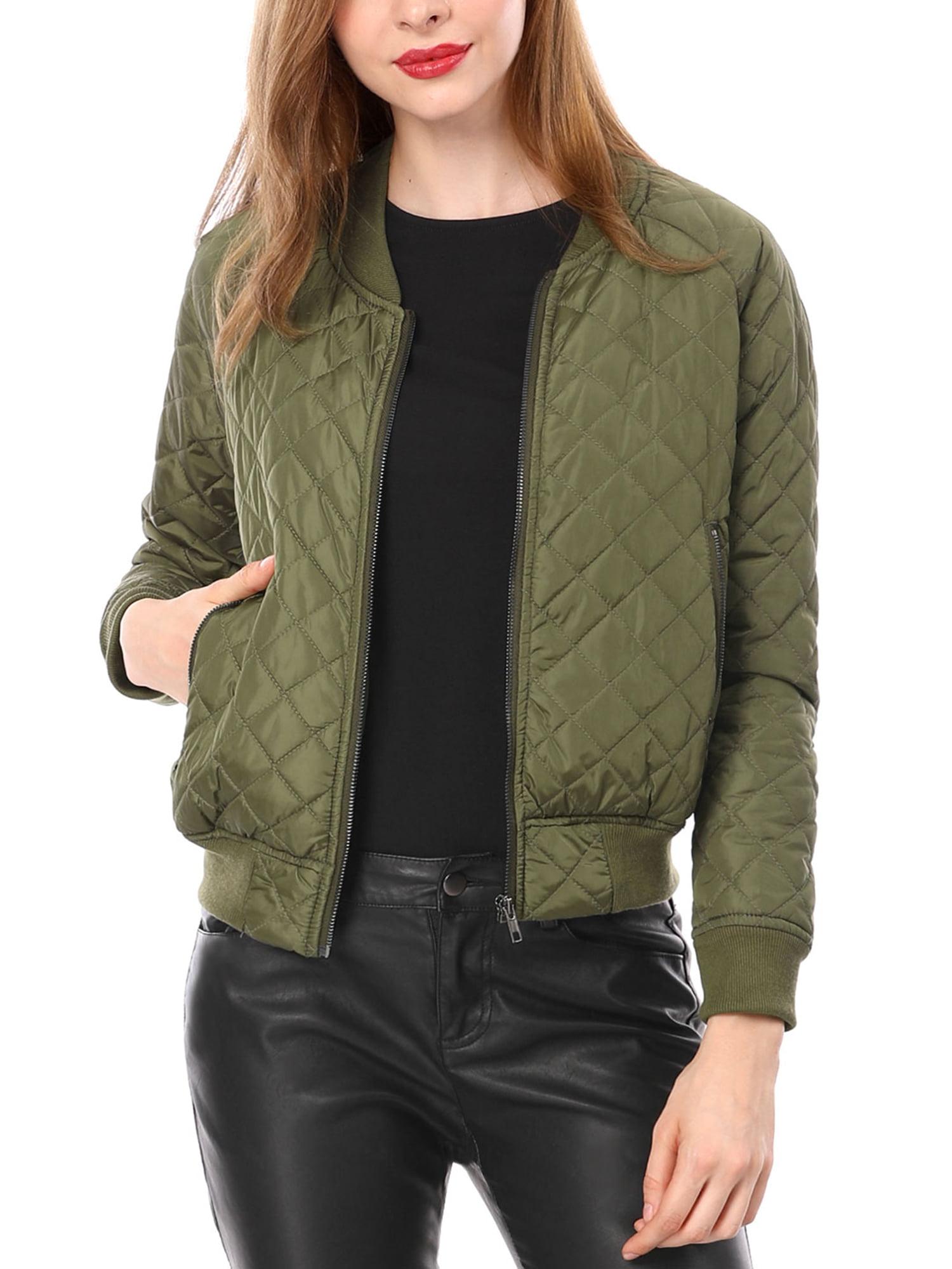 Women Quilted Zip Up Raglan Sleeves Bomber Jacket Coat Outerwear Pink XS (US 2)