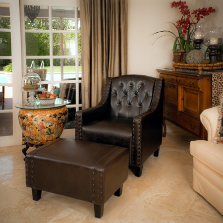 Superb Kramer Tufted Brown Leather Club Chair And Ottoman Ncnpc Chair Design For Home Ncnpcorg