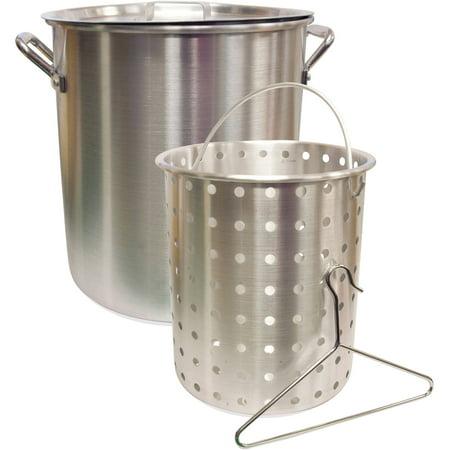 Camp Chef 2 Piece 24 qt Aluminum Fry and Steam Pot Set