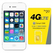 Refurbished Apple iPhone 4s AT T with H2O SIM card(1GB Data Included) White 64GB