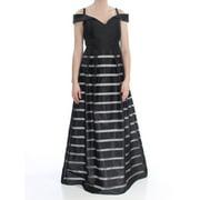 XSCAPE Womens Black Striped Short Sleeve Off Shoulder Full-Length A-Line Formal Dress  Size: 6