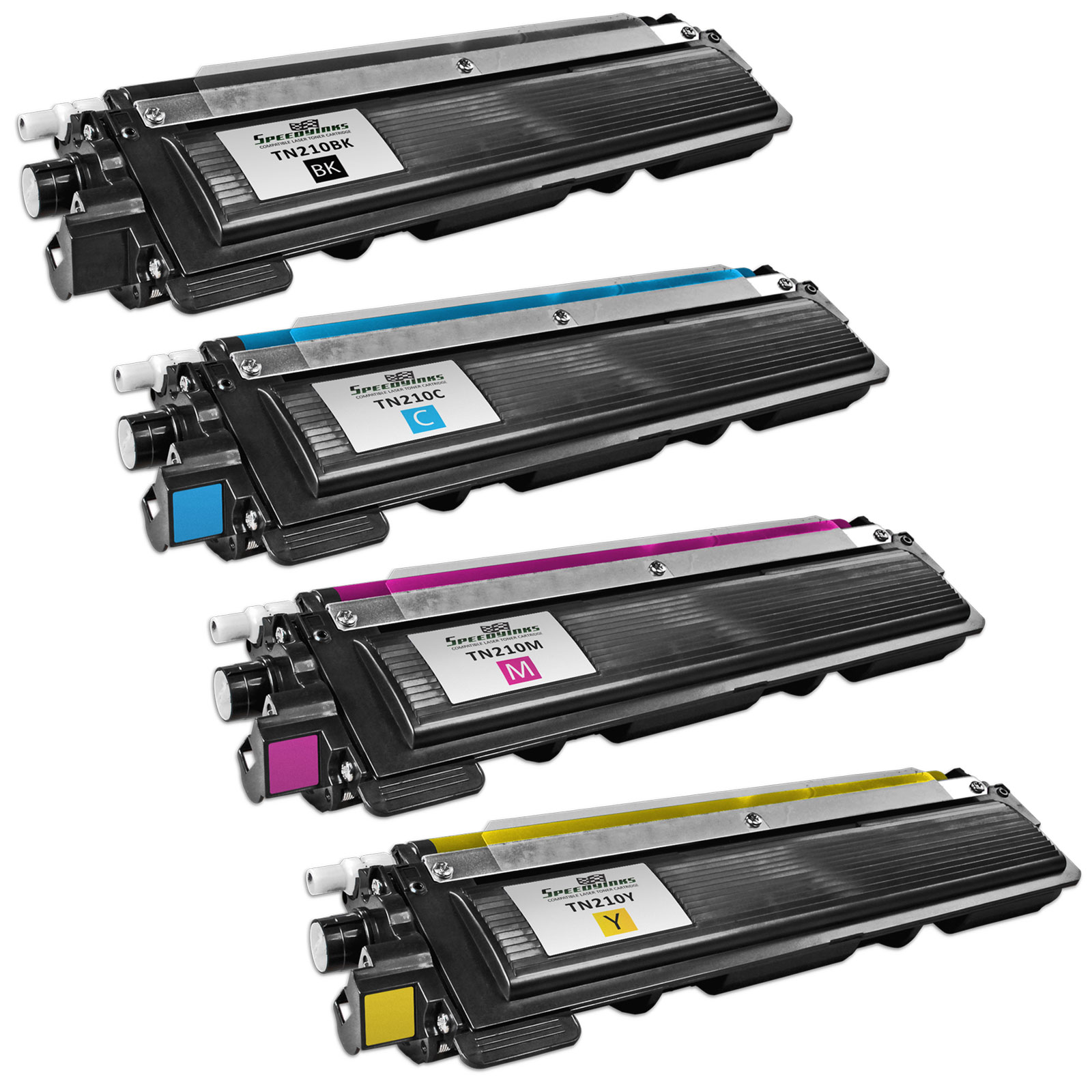 Speedy Inks - Brother Compatible TN-210 Set of 4 Laser Toner Cartridges: 1 each of Black TN210BK, Cyan TN210C, Magenta