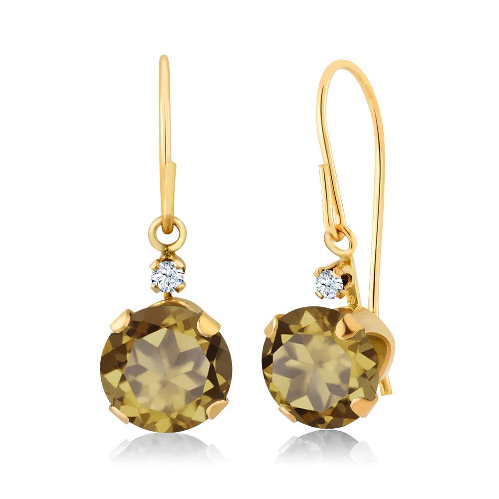 1.63 Ct Round Whiskey Quartz 14K Yellow Gold Earrings