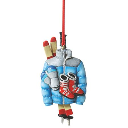 (Ski Gear Resin Ornament Boots, Skis, Poles, Gloves and Jacket)