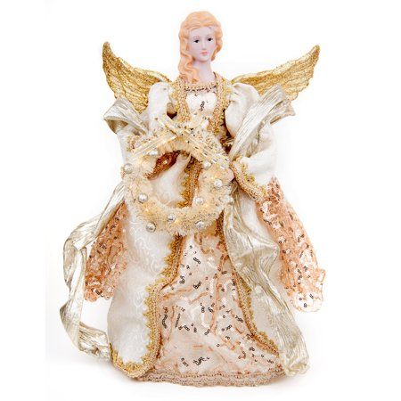 16 inch Golden Christmas Angel décor, Wing and wreath lights up, Great for table center piece or under tree decoration. 16