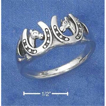 Sterling Silver Double Horse Heads In Horseshoes Ring - Nickel Free - Size 8 (Silver Horseshoe Horse)