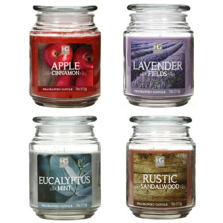 Sandalwood Round Candle (Hosley's Set of Four 18oz Jar Candles - Apple Cinnamon, Lavender, Eucalyptus Mint, Sandalwood )