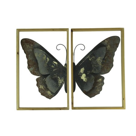 Metal Butterfly Art Duo Wood Framed 2 Piece Wall Decor - Wood Butterfly