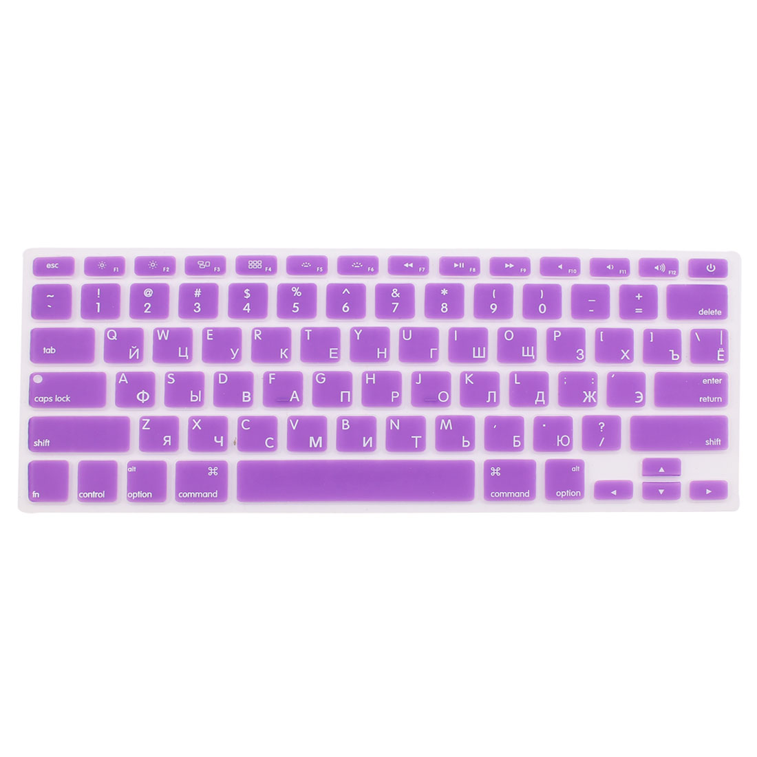 "Unique Bargains Russian Silicone Keyboard Skin Cover Purple for Apple Macbook Air 13""15""17"" US"