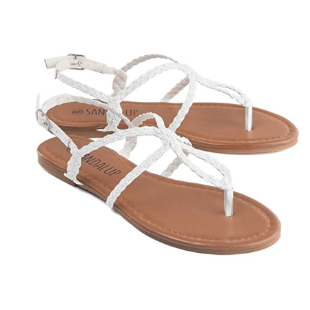 bb9f5fffe896 Sandalup - Newstar Braided Strap Thong Flat Sandals for Women ...