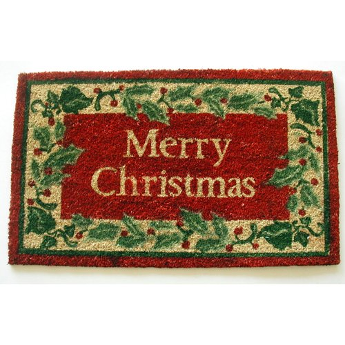 Geo Crafts, Inc Holly border Merry Christmas Doormat