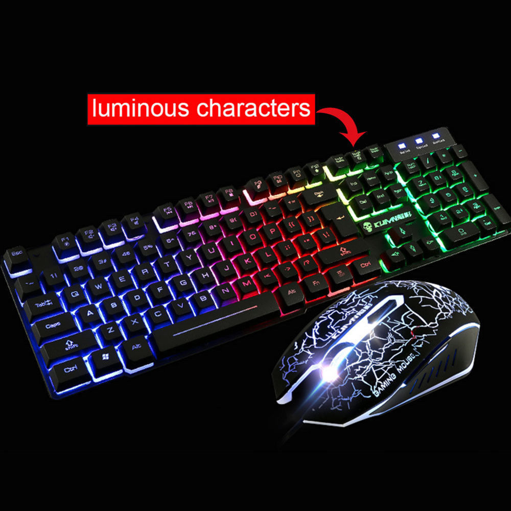 Rainbow Backlight Illuminated Multimedia Wired Gaming Keyboard and Mouse Sets-Black