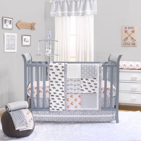 Grey and Orange Woodland Friends 3 Piece Crib Bedding Set by The Peanut Shell