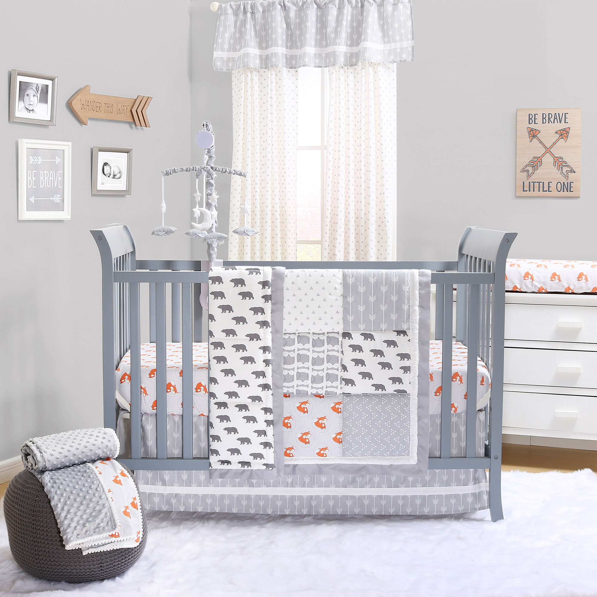 Grey and Orange Woodland Friends 3 Piece Crib Bedding Set by The Peanut Shell