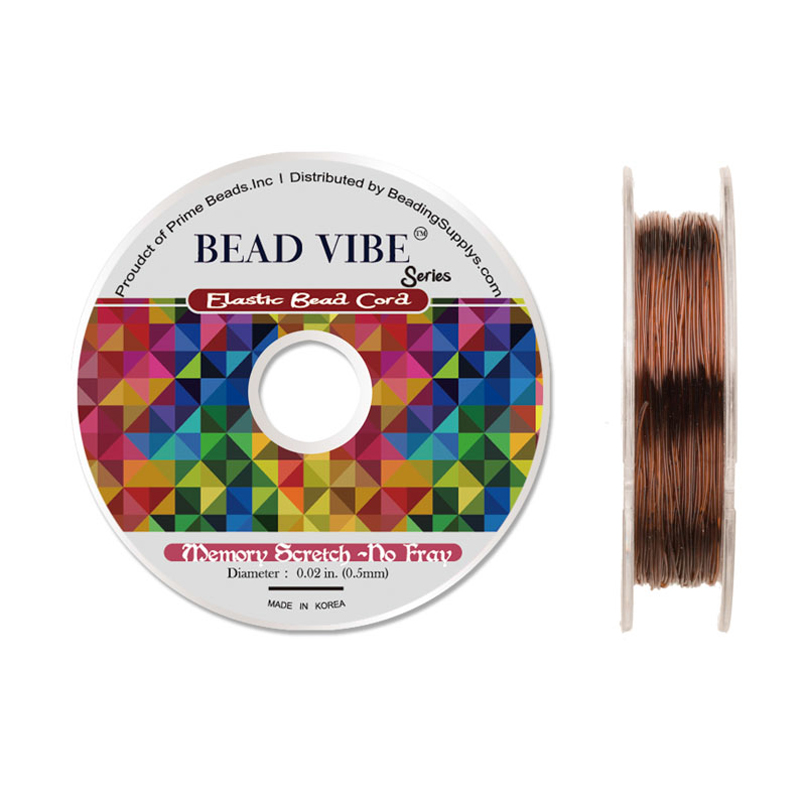 Elastic Bead Cord, Beadvibe Series Memory Stretch Non Fray, Brown 0.5mm Diameter 82ft