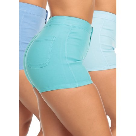 Henderson Womens Shorty - SUPER MEGA DEAL! SALE SALE SALE! Sexy Womens Juniors Casual Party High Waist One Button Slim Fit Stretchy Shorty Shorts (3 PACK G23) PackBlueShorts